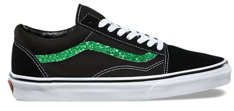 0e5b95bcf787 Kelly Green Hand Painted Glitter Sidestripe Vans Old Skool
