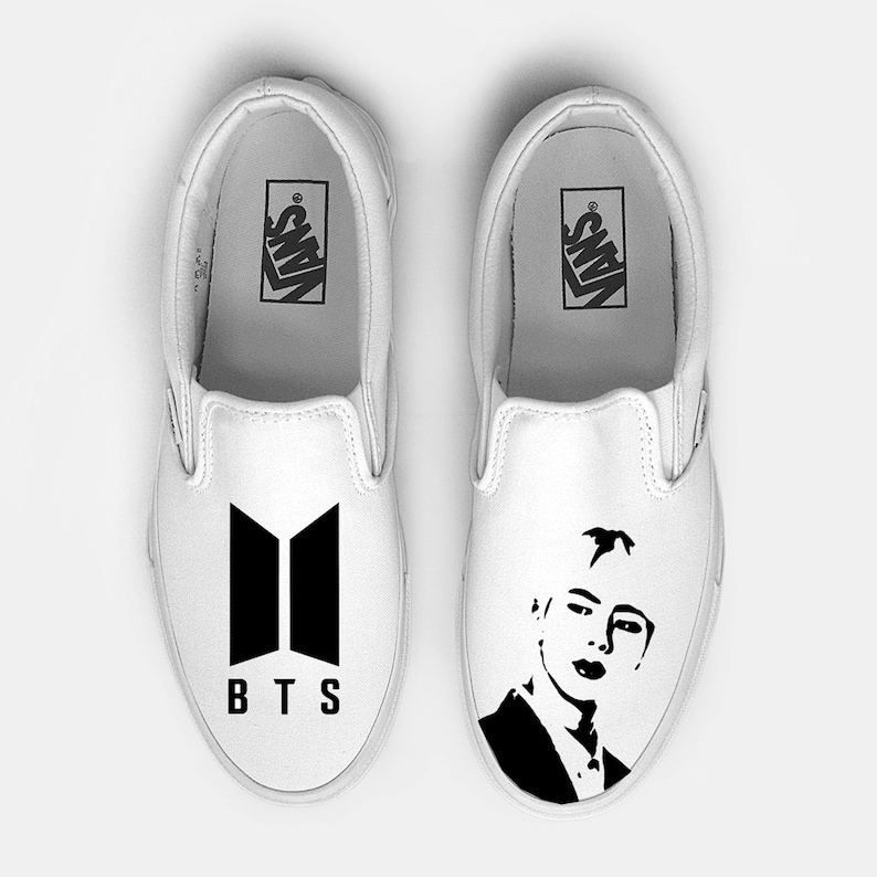 6689b86cff BTS kpop Jin Custom Hand Painted Slip On Vans shoe Various