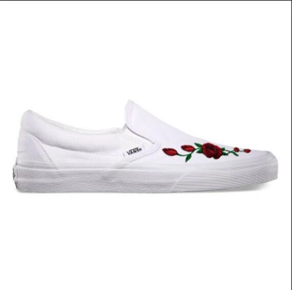 Rose Buds (Red) Custom Embroidered Vans Slip-On White Skate Shoe (NEW) -  Trending Now