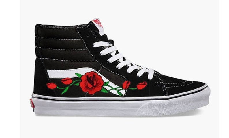 Rose Buds Custom Embroidered Vans SK8 High Top Tennis Shoe  7c743e19cb31