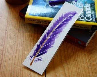 Watercolor Feather Bookmark