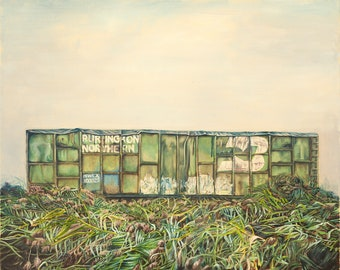 "Original Oil Painting Print on Archival Paper, Train in Grass, 24""x30"", Artwork on Canvas,"