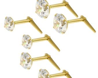 345ece538 9CT Gold Andralok CZ Studs White Cubic Zirconia Ball Round Stud Earrings 3  3.5 5MM Gift Box
