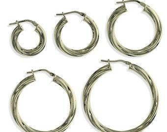 STERLING SILVER ROUND EARRINGS CREOLES 60MM TWISTED TUBES HOOP SLEEPERS PIERCED