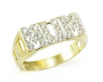 Z Free gift box *** BRAND NEW  *** 9ct Yellow Gold Mum CZ Ring Hallmarked Size F