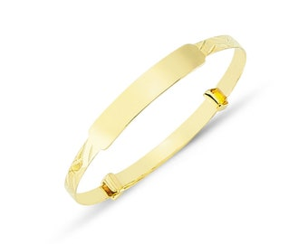 Able 9ct Yellow Gold Id Diamond Cut Extendable Baby Bangle New Precious Metal Without Stones