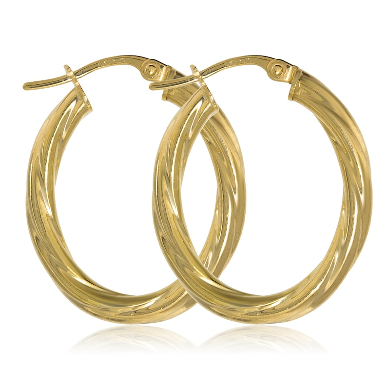 810a9dd969029 9CT Gold Oval Cable Earrings 27X3MM Twisted Tube Hoops Creoles Sleepers  Pierced Gift Box
