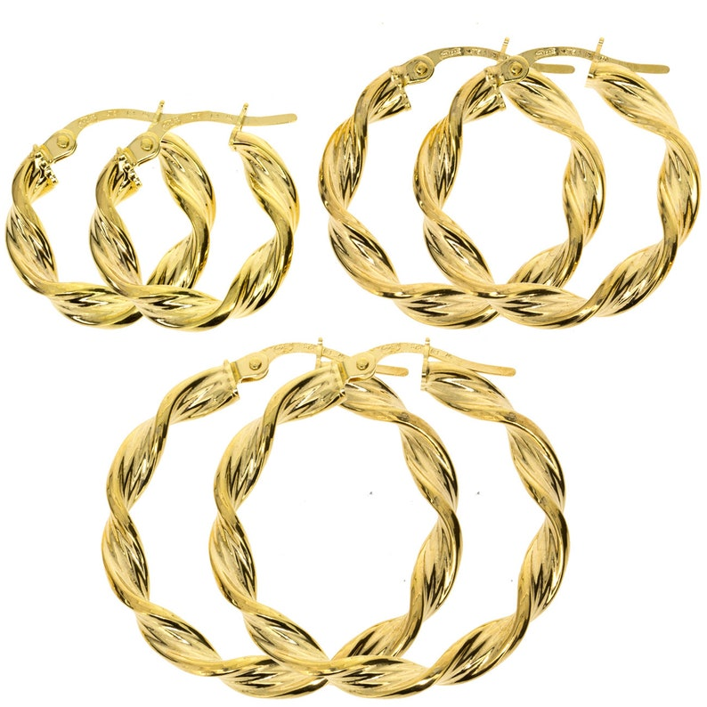 9CT GOLD ROUND 15X3MM SATIN TUBE HOOP CREOLE SLEEPER PIERCED EARRINGS GIFT BOX