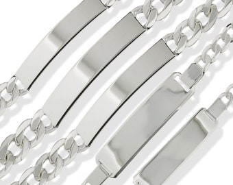 Sterling Silver ID Bracelets Free Engraving Solid Curb Figaro ID Identity Ladies Gents Childs Personalised Bracelet Free Gift  Box