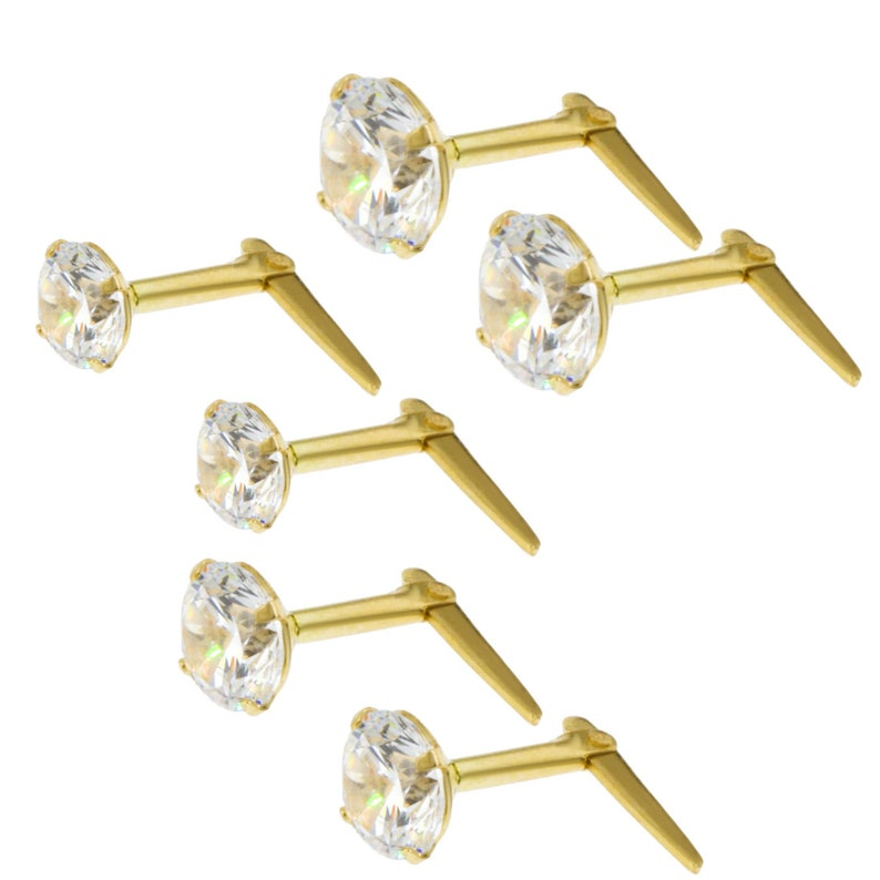 9ct yellow gold 5mm cubic zirconia Andralok stud earrings Gift box 5 colours