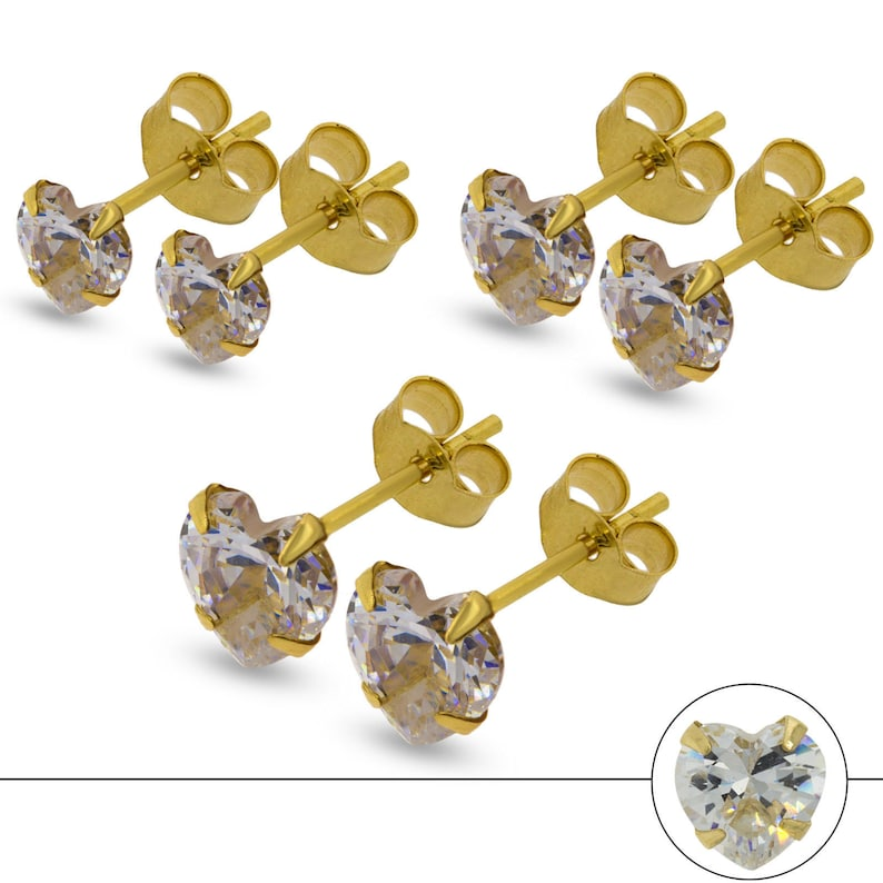 Studs Earrings 5mm SALE Real 9ct Gold Kids Childrens Cubic Zirconia Star Stud