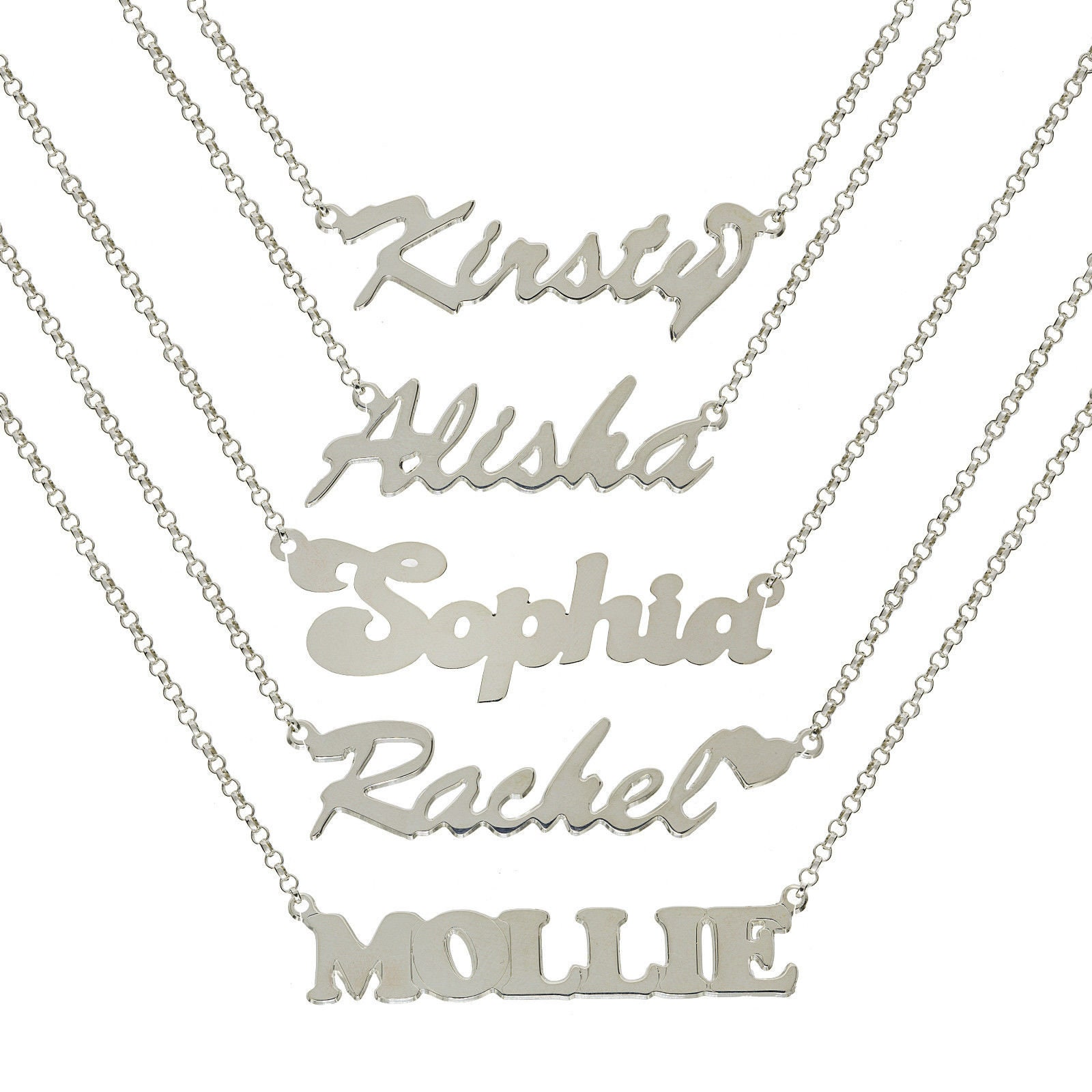 6f4d529ddf647 Sterling Silver Personalised Make any Name Plate Pendant Belcher Chain  Necklace