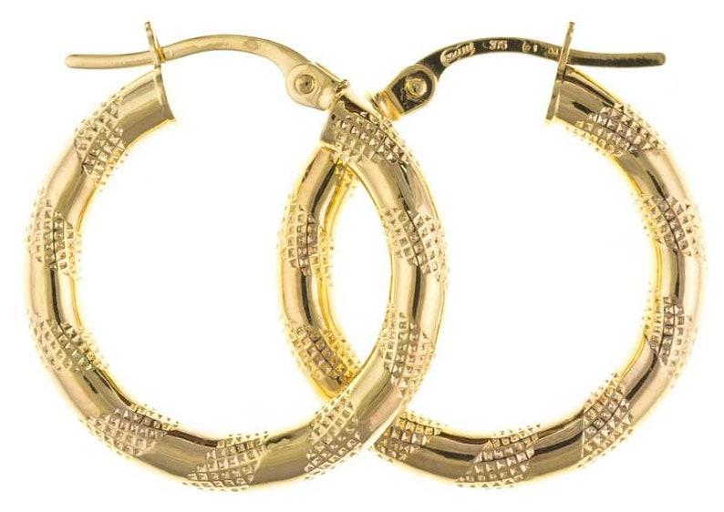9CT Gold Hoop Earrings Round Creole 3mm Satin Stripe Tube Patterned Sleepers Loops Gift Box