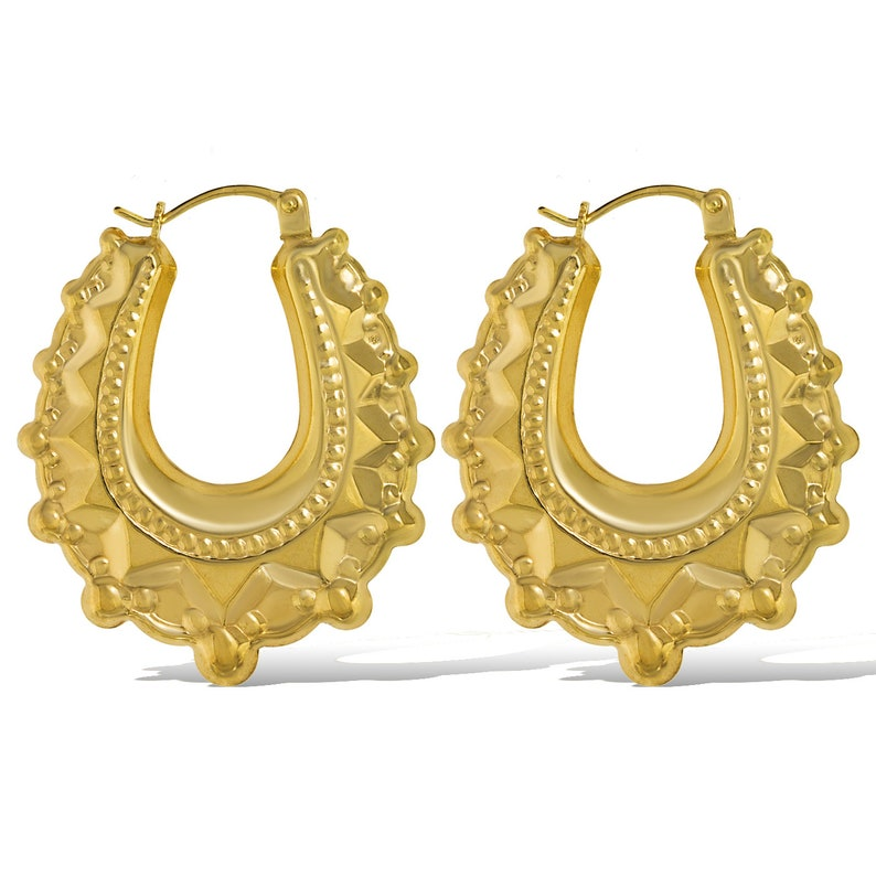 9CT GOLD HOOP EARRINGS 20MM YELLOW ROUND PLAIN POLISHED CREOLE SLEEPER  GIFT BOX