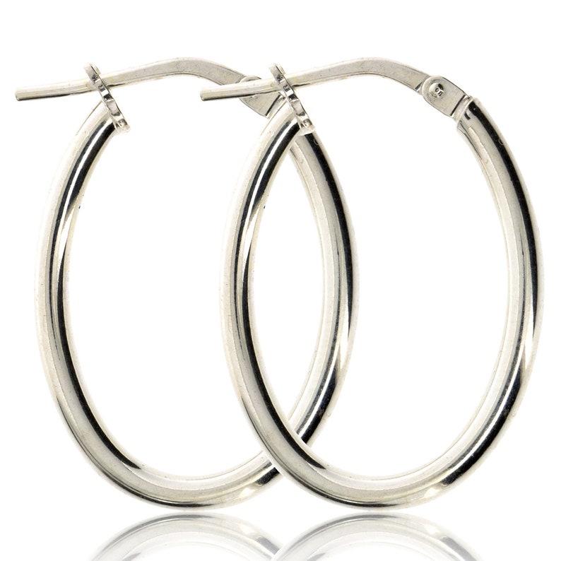 0373b8edc Sterling Silver Oval Hoop Earrings Plain Tube Sleepers | Etsy