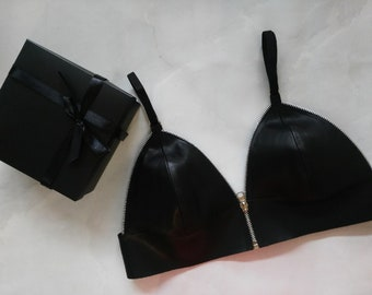 58052da7acd988 Exclusive real italian leather bra bralette with zipper