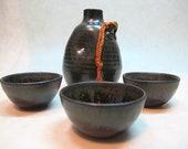 Japanese Satsuma Ware Sake Bottle and Gunomi Set, Satsuma Yaki Tokkuri and 3-Sake Cup Set, KanpaiJP