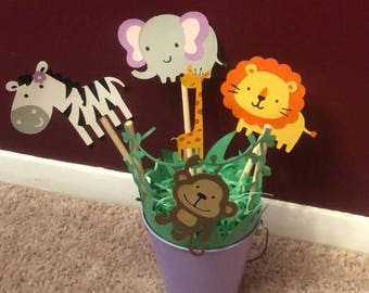 Customized Safari themed centerpieces. Baby shower. Birthday party