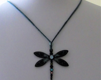 Dragonfly vintage pendant on a suede cord multi stone.