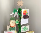 St. Patrick's Day Decoration, Photo, & Accessory Tree Strand Holder - with 4 Leaf Clover Topper - by Birch Branch