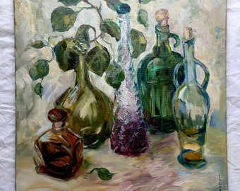 Still Life Oil Painting - Original Oil Painting - Five Bottels