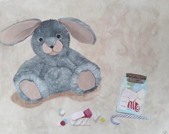 Gourmand rabbit! Acrylic 65 x 50
