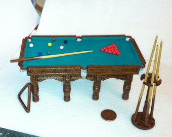 Billiard Pool Table and cues 1/12th scale dollshouse miniature