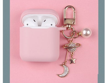 82232434b40 Cute Galaxy Moon and Star Airpod Case / Cute Soft Silicone Aipord Case with  Keyring Keychain