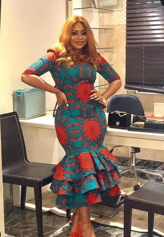 African Print Senegal Midi Dress: African Print Midi Dress /african Fashion /Ankara Style