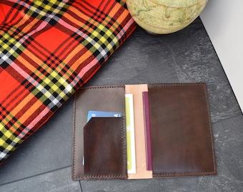 Personalised handmade leather passport holder/ passport cover