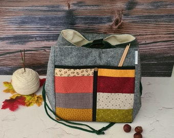 Large Project Bag, Large Knitted Project Ash, Handmade Bag, Japanese Rice Bag for Knitters