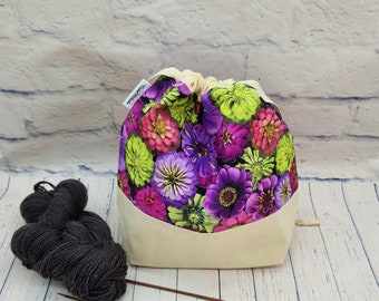 Project bag size M , drawstring bag , knitted bag , wool bag , knitted project bag