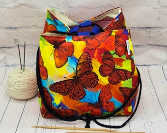 """Large project bag """"Colorful Butterflies"""", knitted project bag, Japanese rice bag, handmade bag for 600 - 700g wool"""