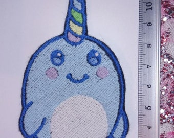 Cute narwhal Embroidery Patch