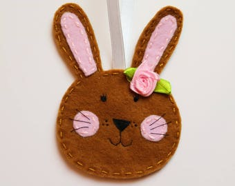 Girl Easter bunny decoration, Pink Easter decorations, felt bunny decoration, felt bunny ornaments, Bunny Easter tree, Easter bunny decor