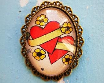 Brooch Oldschool Two hearts