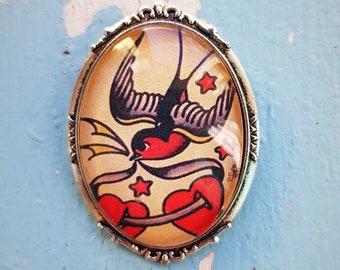 Brooch Oldschool Tatoo Swallow Two hearts