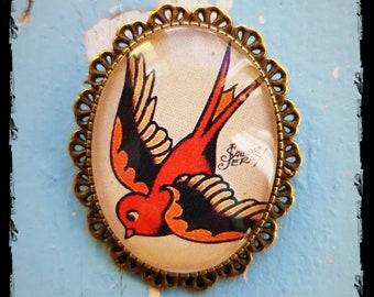 Brooch Oldschool Tattoo Swallow