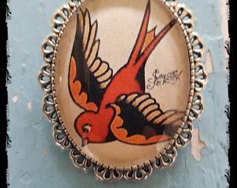 Brooch Old School-Tattoo Swallow