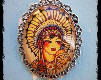 Brooch Oldschool Tattoo Indian Girl