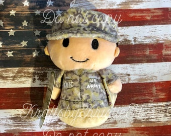 NEW! itty bitty US Army, Air Force, Marines, USNavy, Coast Guard, National Guard, Boot Camp, Military doll, Camo, Deployment, personalized