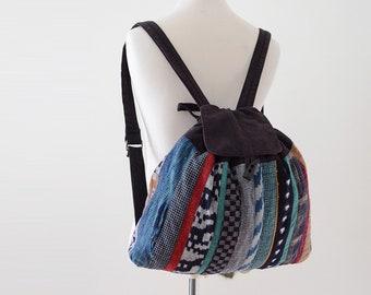Aizome Fabric Kasuri Bag Sakiori Style Crazy Patchwork Japanese Vintage 80s 藍染 絣 バッグ ジャパンヴィンテージ 80年代 クレイジーパターン