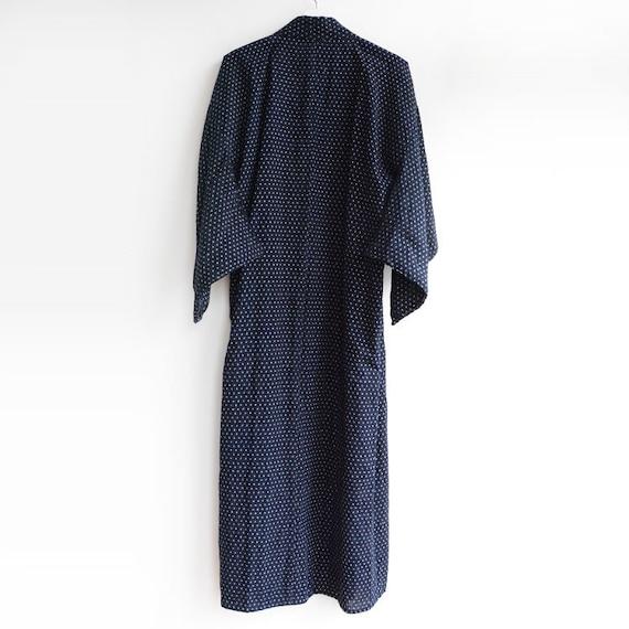 indigo kimono robe kasuri fabric cotton japan vin… - image 3