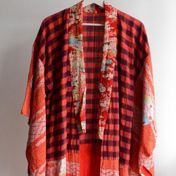 juban kimono robe japan vintage crazy pattern 30s