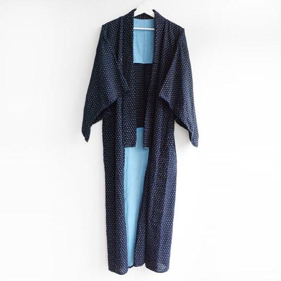 indigo kimono robe kasuri fabric cotton japan vin… - image 2