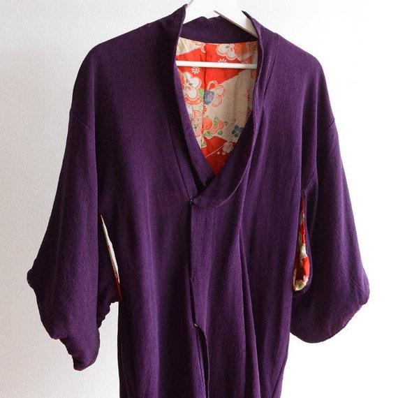 michiyuki coat kimono jacket purple japan vintage