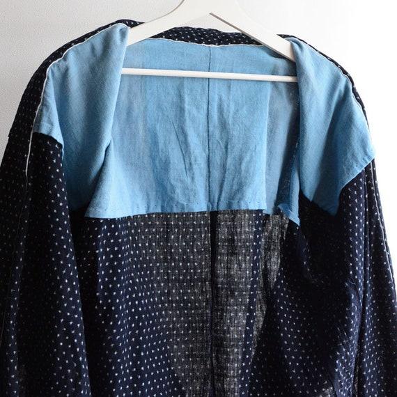 indigo kimono robe kasuri fabric cotton japan vin… - image 7