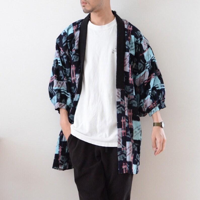 noragi jacket indigo kimono kasuri fabric japan vintage 40\uff5e50s cotton flower boro