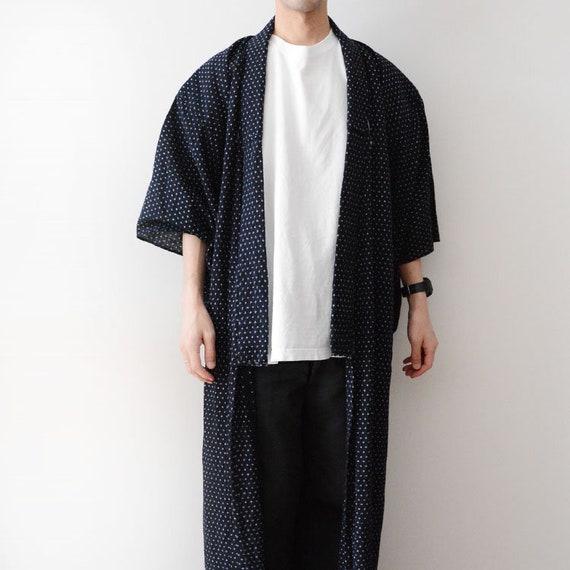 indigo kimono robe kasuri fabric cotton japan vint