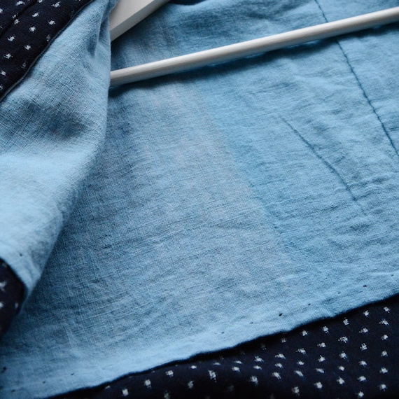 indigo kimono robe kasuri fabric cotton japan vin… - image 8
